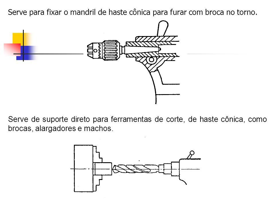 Serve para fixar o mandril de haste cônica para furar com broca no torno.