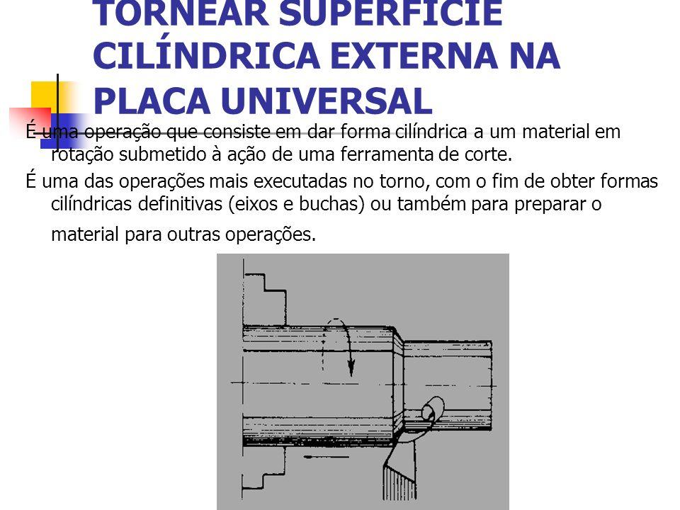 TORNEAR SUPERFÍCIE CILÍNDRICA EXTERNA NA PLACA UNIVERSAL