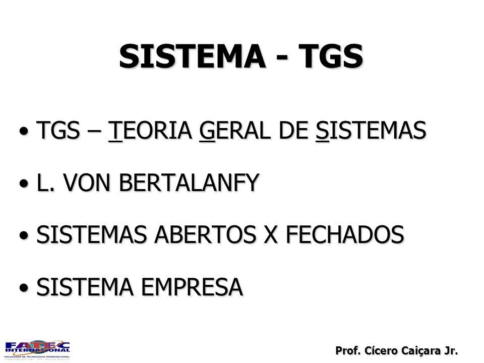 SISTEMA - TGS TGS – TEORIA GERAL DE SISTEMAS L. VON BERTALANFY