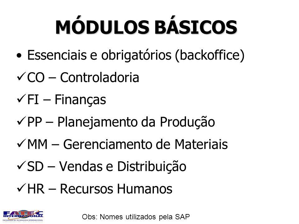 MÓDULOS BÁSICOS Essenciais e obrigatórios (backoffice)
