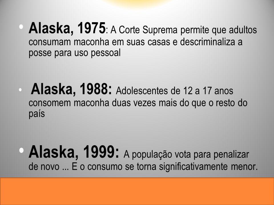 Alaska, 1975: A Corte Suprema permite que adultos consumam maconha em suas casas e descriminaliza a posse para uso pessoal