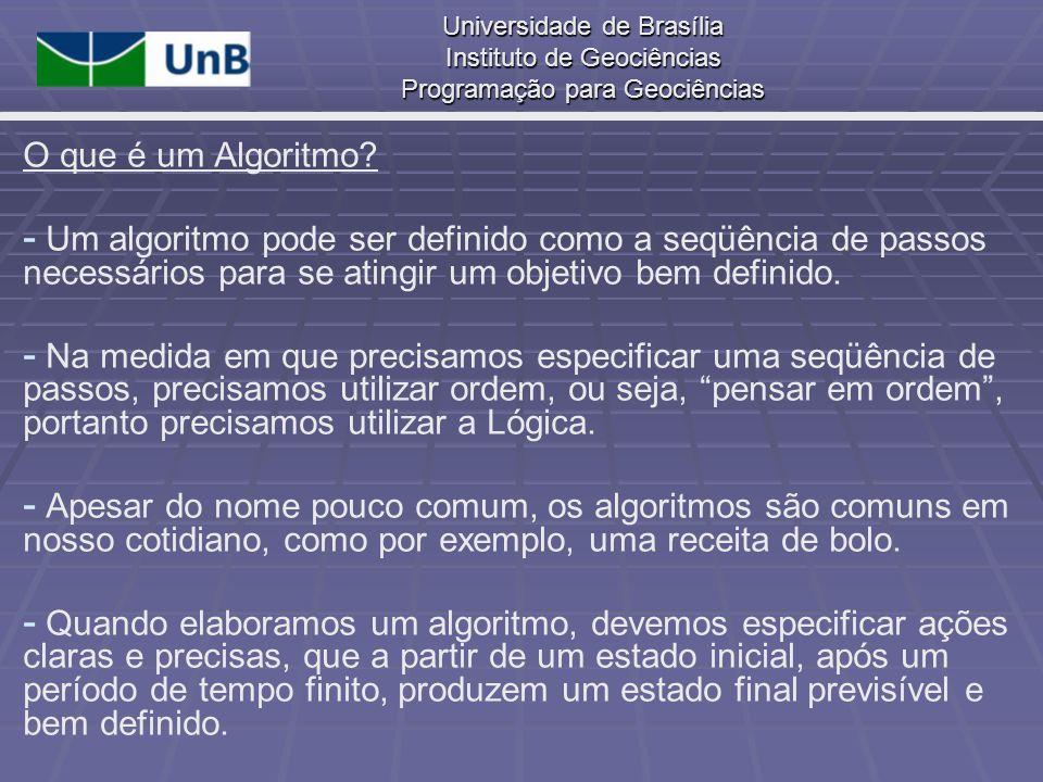 O que é um Algoritmo Um algoritmo pode ser definido como a seqüência de passos necessários para se atingir um objetivo bem definido.