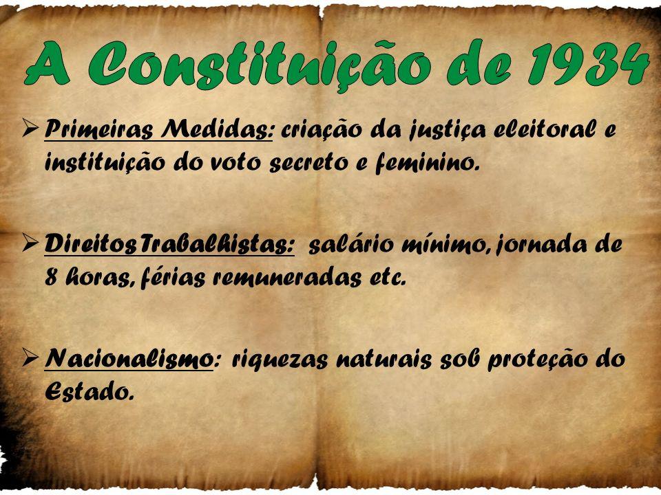 A Constituição de 1934 Primeiras Medidas: criação da justiça eleitoral e instituição do voto secreto e feminino.