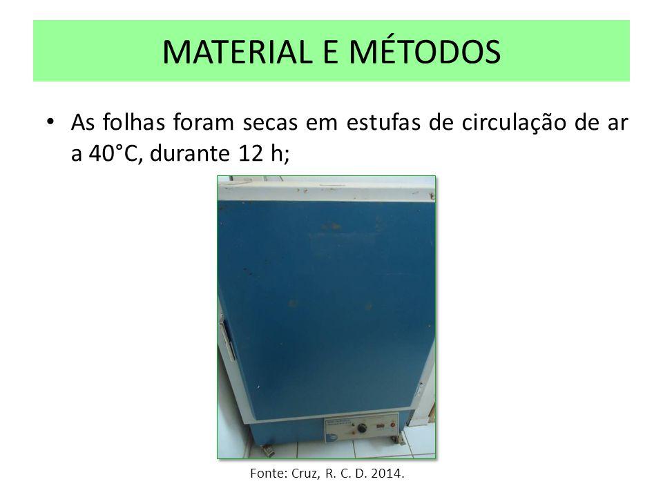 MATERIAL E MÉTODOS As folhas foram secas em estufas de circulação de ar a 40°C, durante 12 h; Fonte: Cruz, R.