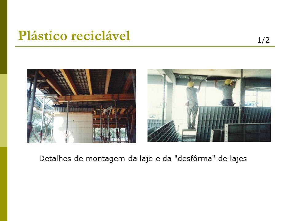 Plástico reciclável 1/2 Detalhes de montagem da laje e da desfôrma de lajes