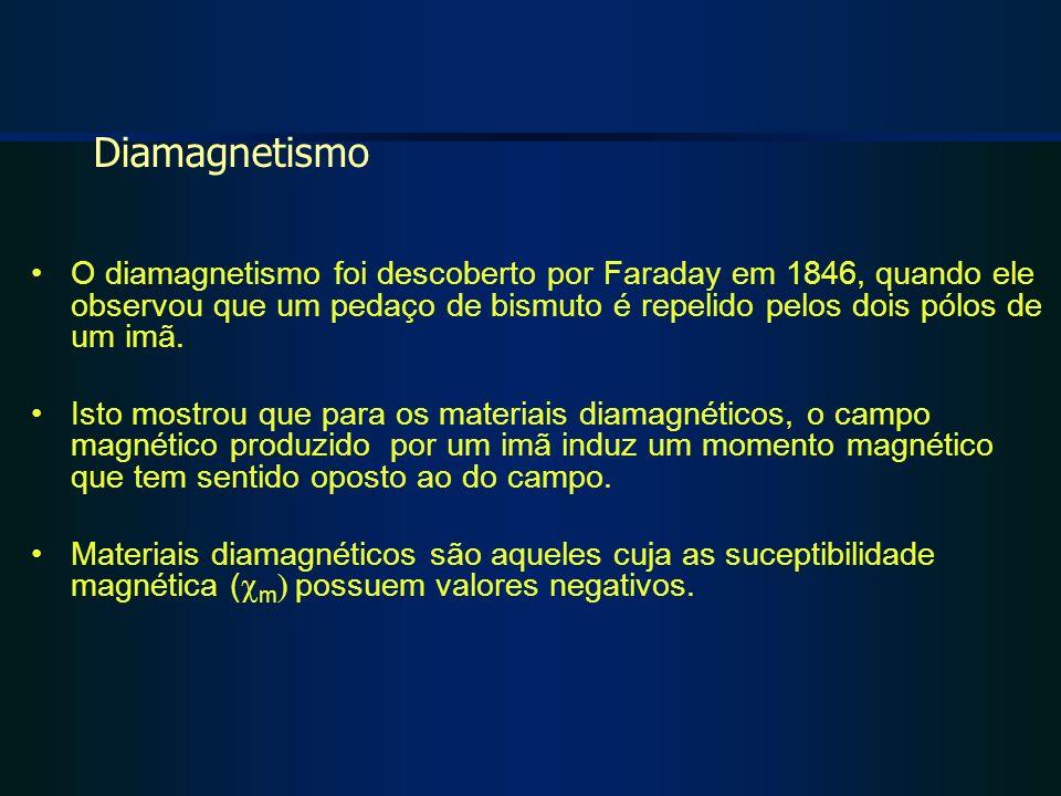 Diamagnetismo O diamagnetismo foi descoberto por Faraday em 1846, quando ele observou que um pedaço de bismuto é repelido pelos dois pólos de um imã.