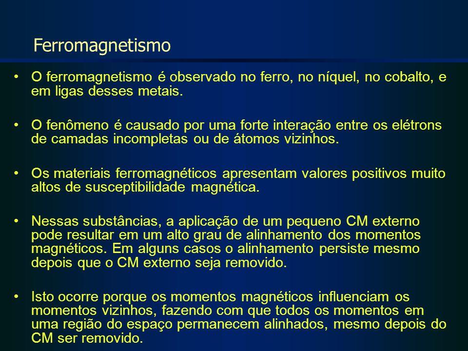Ferromagnetismo O ferromagnetismo é observado no ferro, no níquel, no cobalto, e em ligas desses metais.