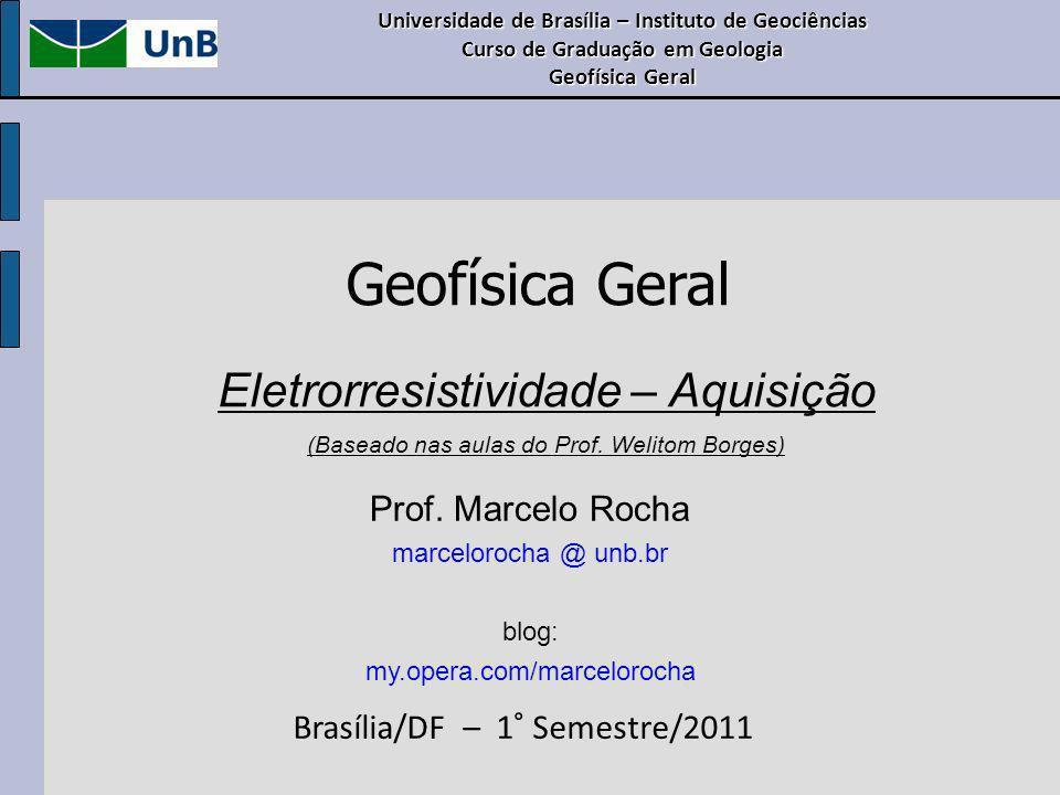 Geofísica Geral Eletrorresistividade – Aquisição Prof. Marcelo Rocha