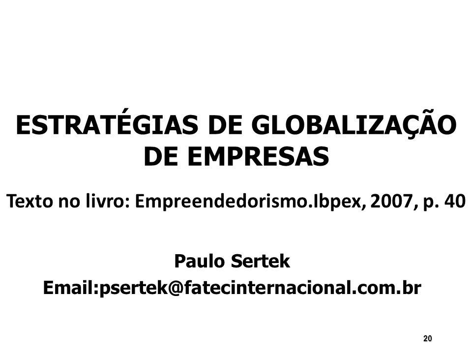 ESTRATÉGIAS DE GLOBALIZAÇÃO DE EMPRESAS