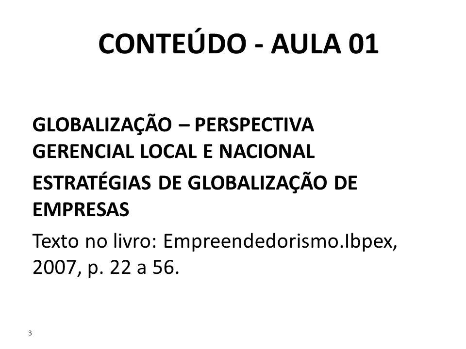 CONTEÚDO - AULA 01GLOBALIZAÇÃO – PERSPECTIVA GERENCIAL LOCAL E NACIONAL. ESTRATÉGIAS DE GLOBALIZAÇÃO DE EMPRESAS.