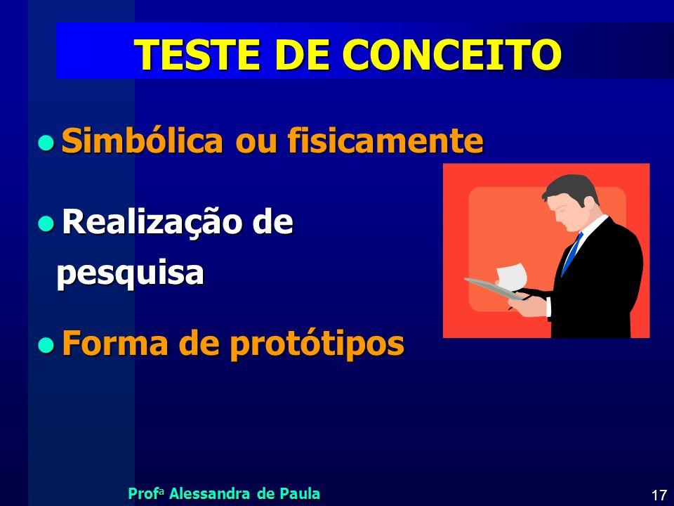 TESTE DE CONCEITO Simbólica ou fisicamente Realização de pesquisa