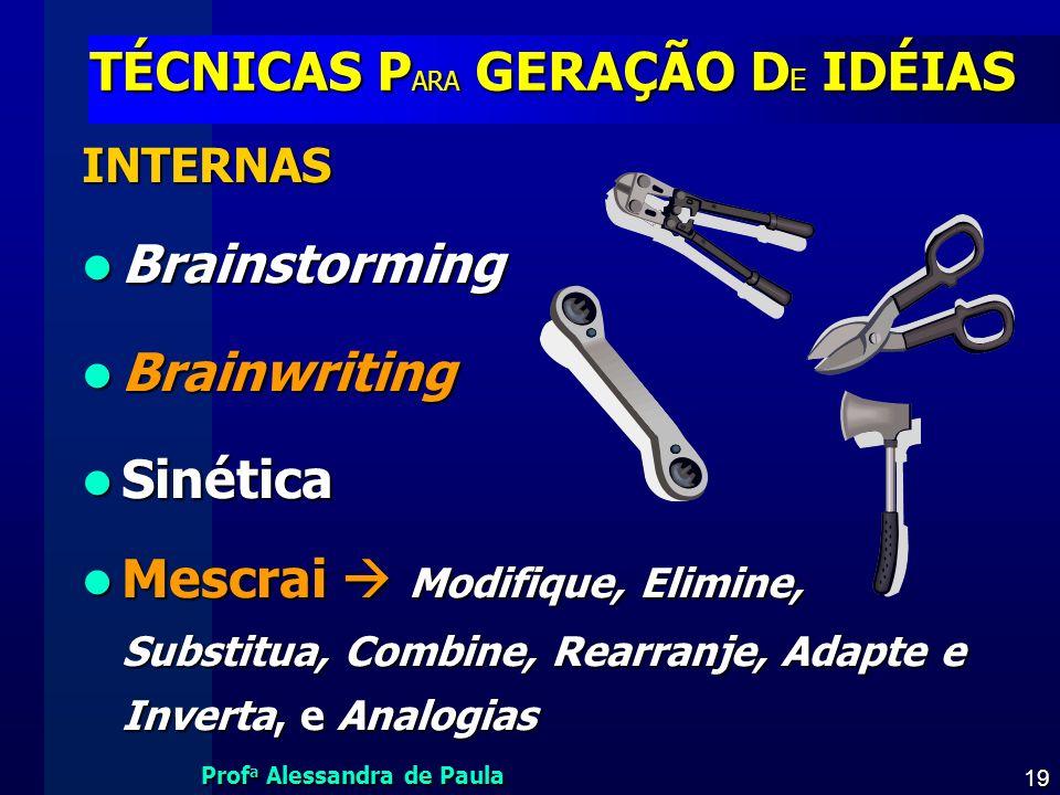 TÉCNICAS PARA GERAÇÃO DE IDÉIAS