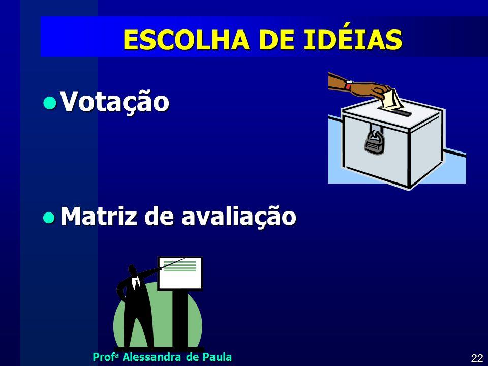 ESCOLHA DE IDÉIAS Votação Matriz de avaliação