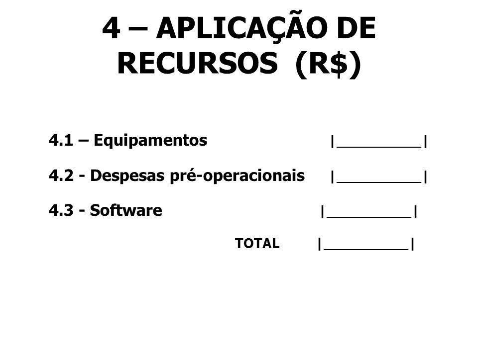 4 – APLICAÇÃO DE RECURSOS (R$)