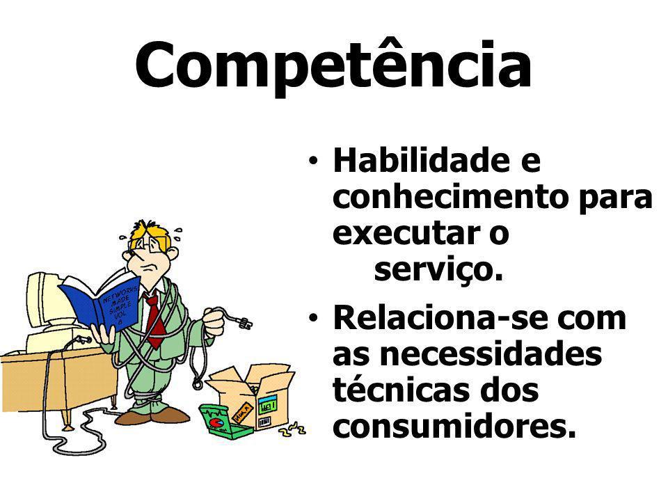 Competência Habilidade e conhecimento para executar o serviço.