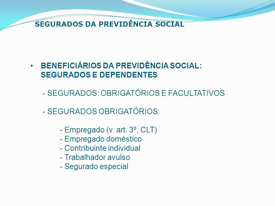 BENEFICIÁRIOS DA PREVIDÊNCIA SOCIAL: SEGURADOS E DEPENDENTES