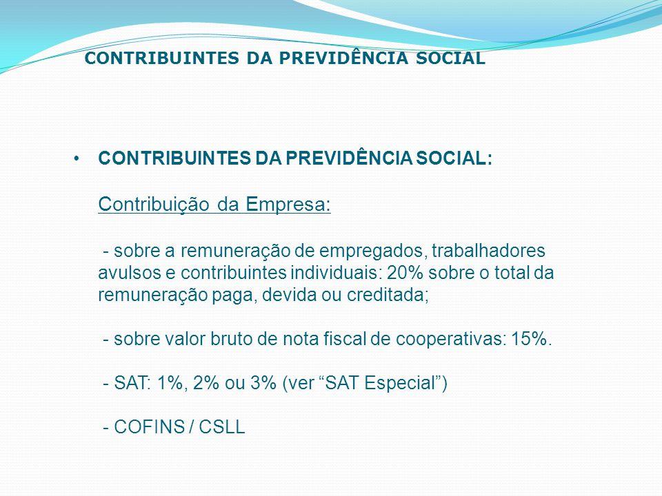 CONTRIBUINTES DA PREVIDÊNCIA SOCIAL: Contribuição da Empresa: