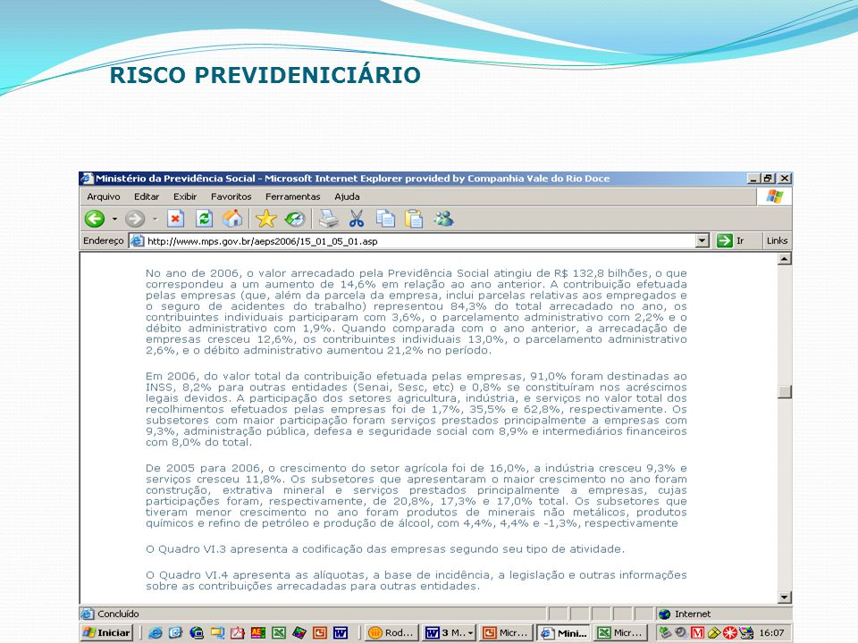 RISCO PREVIDENICIÁRIO