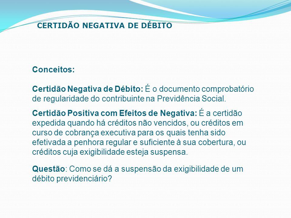 Certidão Negativa de Débito: É o documento comprobatório