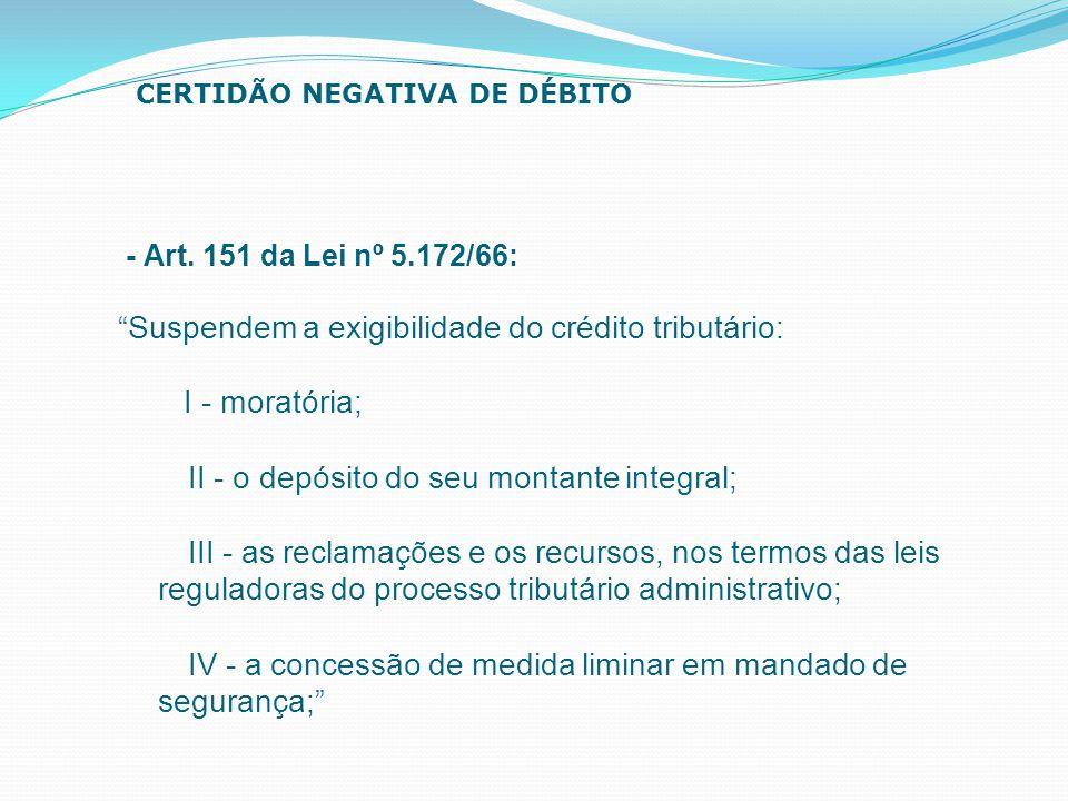 Suspendem a exigibilidade do crédito tributário: I - moratória;