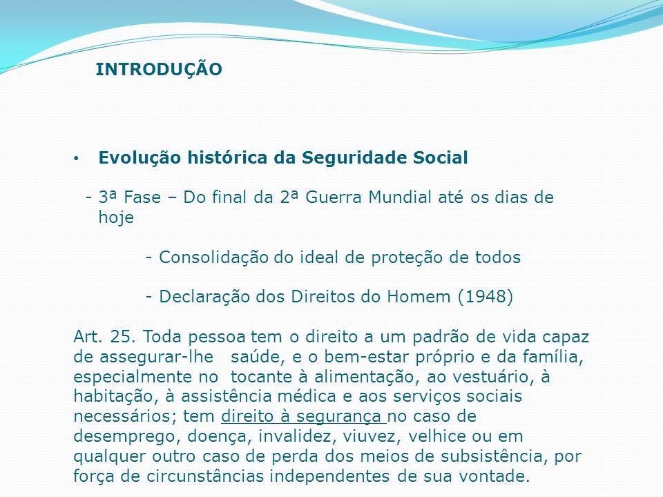 INTRODUÇÃO Evolução histórica da Seguridade Social. - 3ª Fase – Do final da 2ª Guerra Mundial até os dias de hoje.