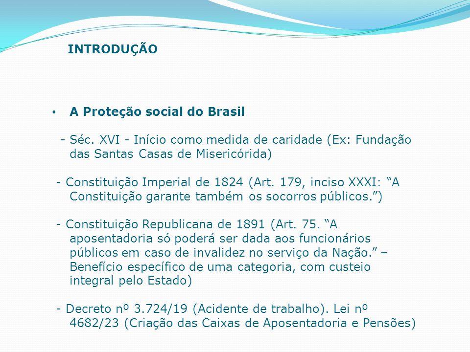 INTRODUÇÃO A Proteção social do Brasil. - Séc. XVI - Início como medida de caridade (Ex: Fundação das Santas Casas de Misericórida)