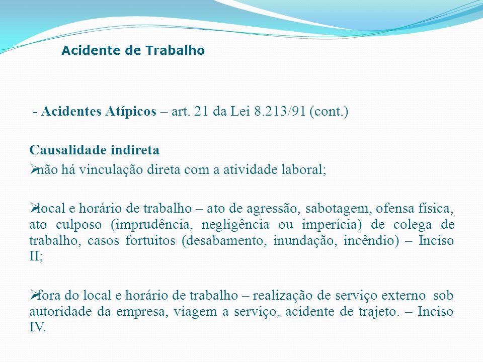 - Acidentes Atípicos – art. 21 da Lei 8.213/91 (cont.)