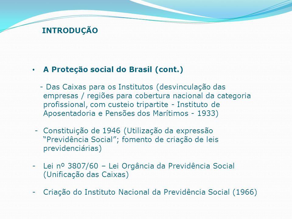 INTRODUÇÃO A Proteção social do Brasil (cont.)
