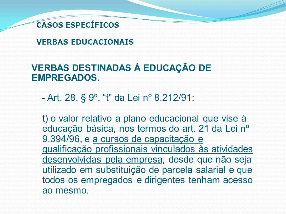 CASOS ESPECÍFICOS VERBAS EDUCACIONAIS. VERBAS DESTINADAS À EDUCAÇÃO DE. EMPREGADOS. - Art. 28, § 9º, t da Lei nº 8.212/91: