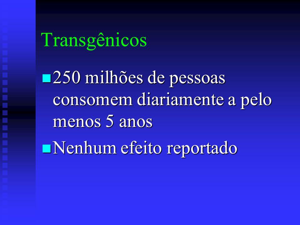 Transgênicos 250 milhões de pessoas consomem diariamente a pelo menos 5 anos.