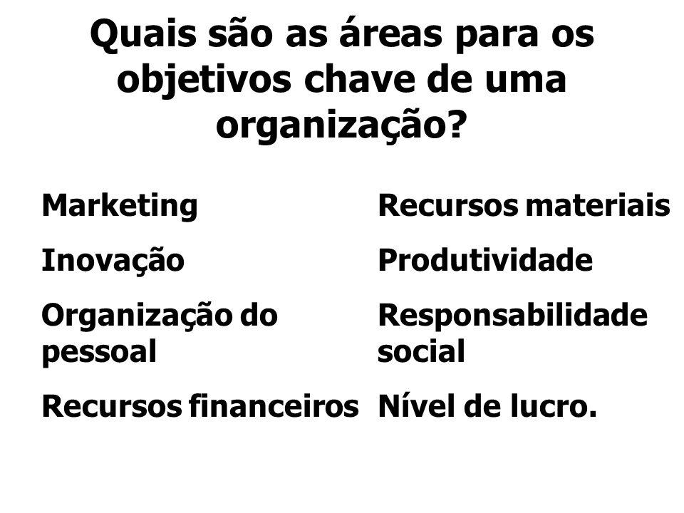 Quais são as áreas para os objetivos chave de uma organização