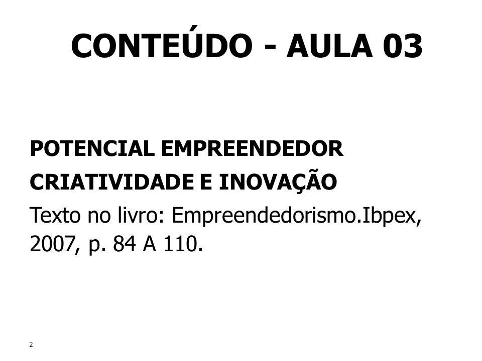 CONTEÚDO - AULA 03 POTENCIAL EMPREENDEDOR CRIATIVIDADE E INOVAÇÃO