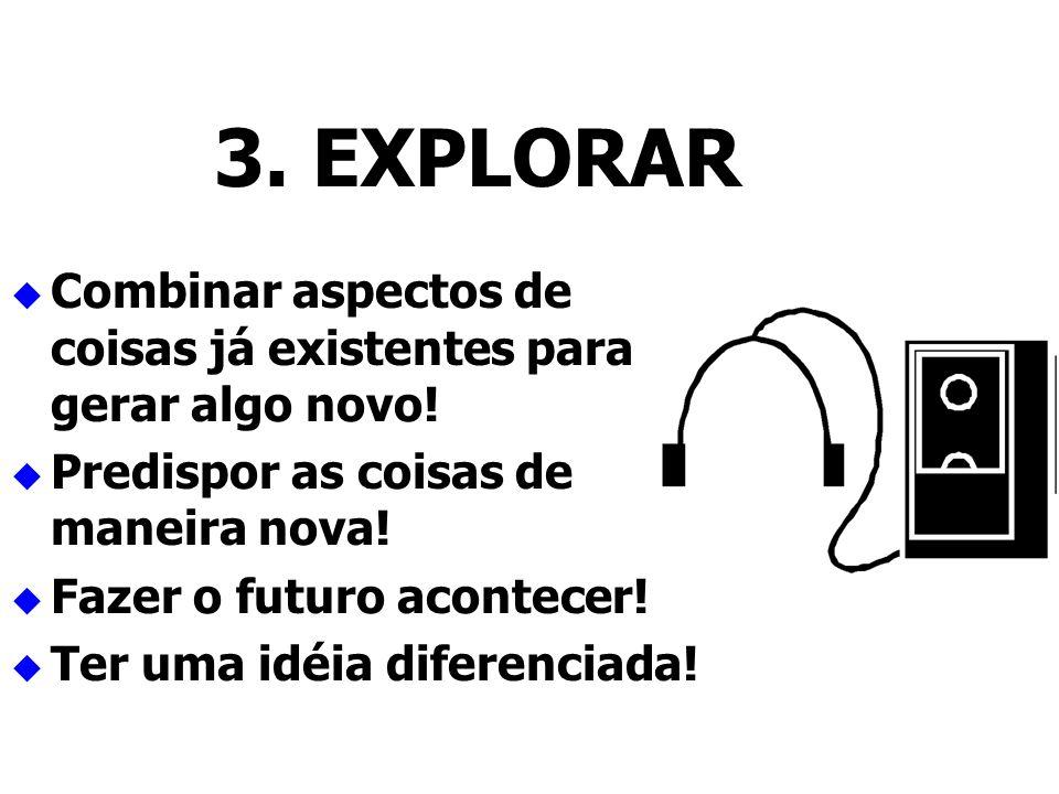 3. EXPLORAR Combinar aspectos de coisas já existentes para gerar algo novo! Predispor as coisas de maneira nova!