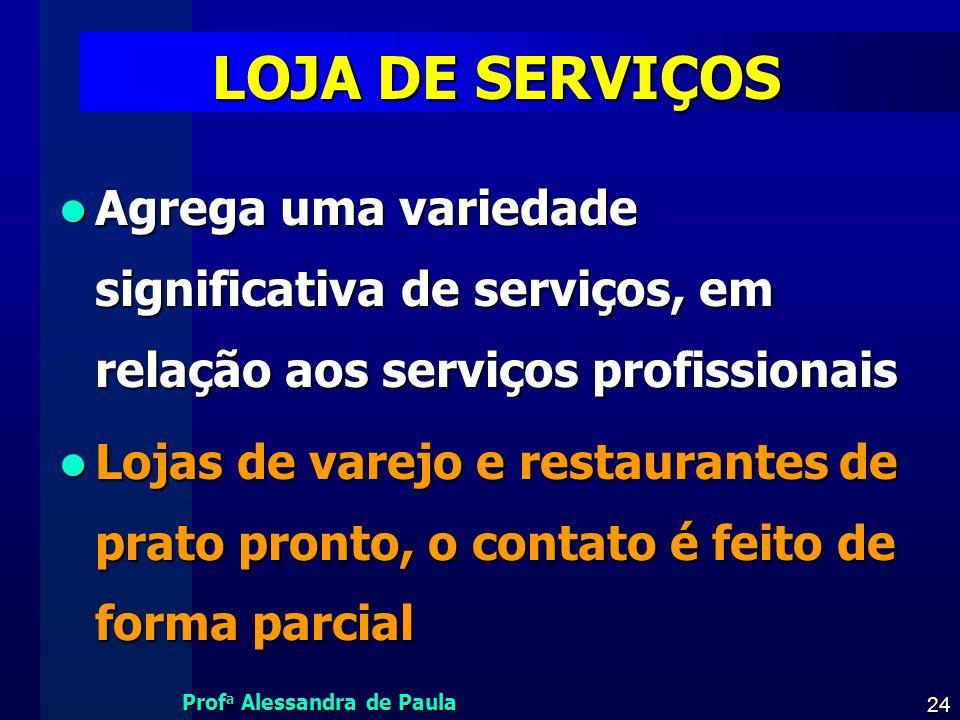 LOJA DE SERVIÇOS Agrega uma variedade significativa de serviços, em relação aos serviços profissionais.