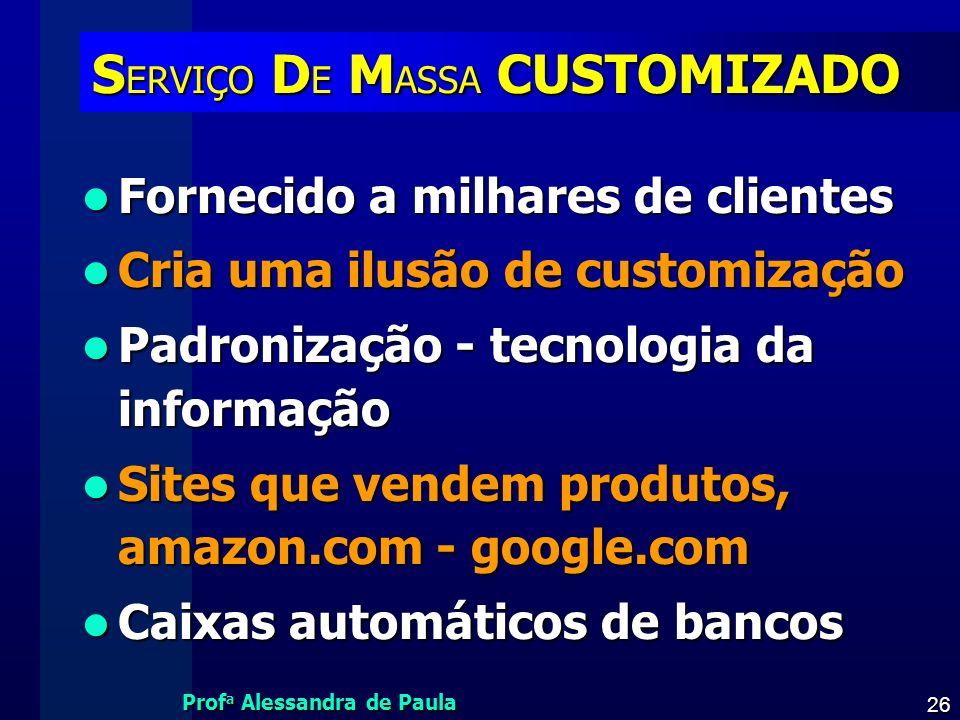 SERVIÇO DE MASSA CUSTOMIZADO