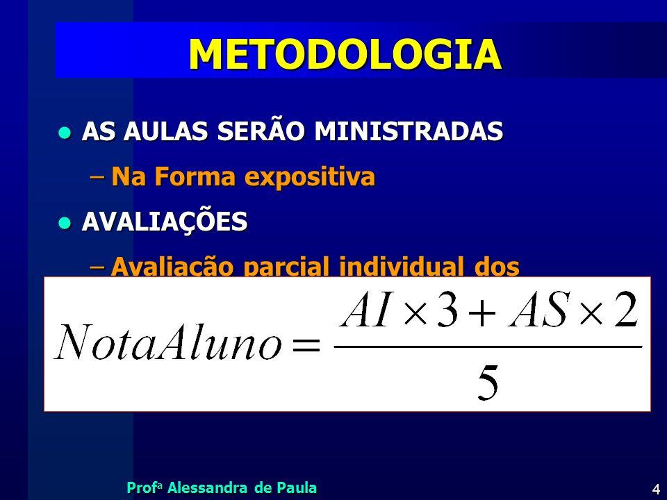 METODOLOGIA AS AULAS SERÃO MINISTRADAS Na Forma expositiva AVALIAÇÕES