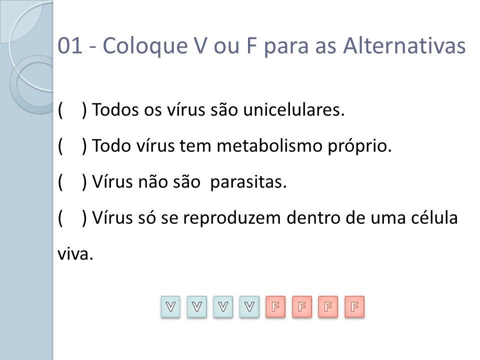 01 - Coloque V ou F para as Alternativas