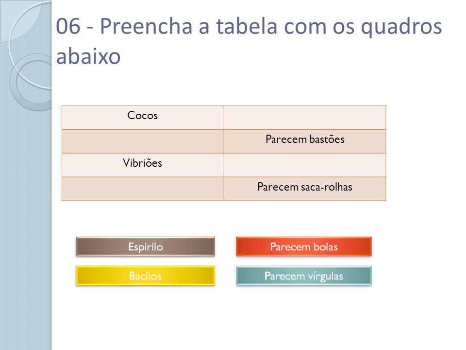 06 - Preencha a tabela com os quadros abaixo