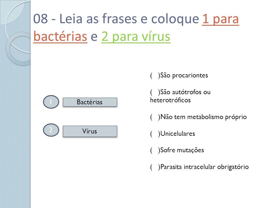 08 - Leia as frases e coloque 1 para bactérias e 2 para vírus