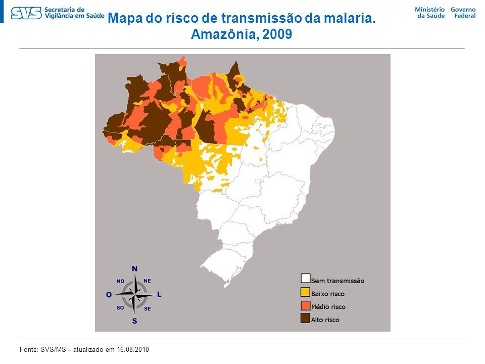 Mapa do risco de transmissão da malaria.
