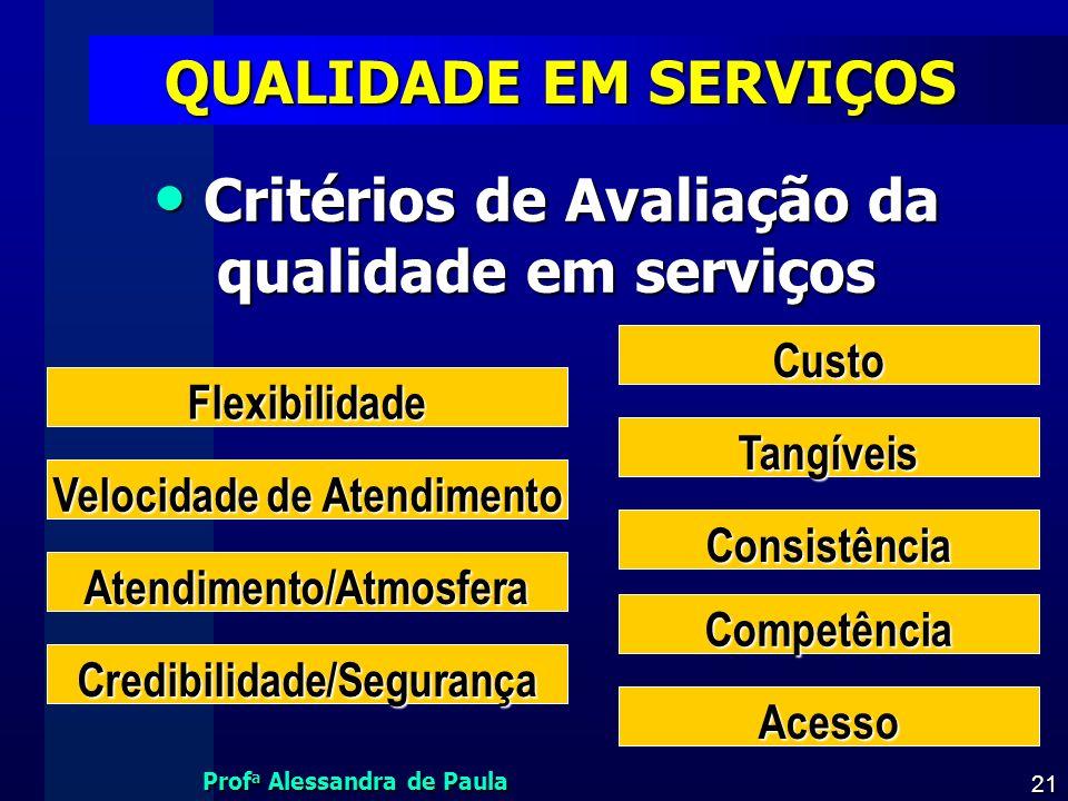 QUALIDADE EM SERVIÇOS Critérios de Avaliação da qualidade em serviços