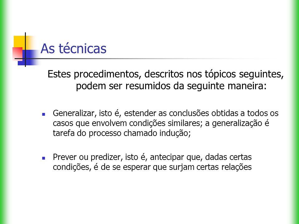 As técnicas Estes procedimentos, descritos nos tópicos seguintes, podem ser resumidos da seguinte maneira: