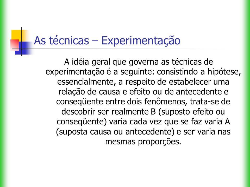 As técnicas – Experimentação