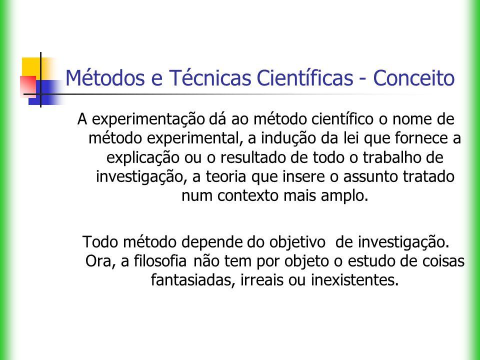 Métodos e Técnicas Científicas - Conceito