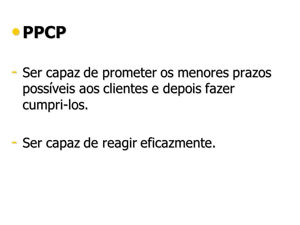 PPCP Ser capaz de prometer os menores prazos possíveis aos clientes e depois fazer cumpri-los.