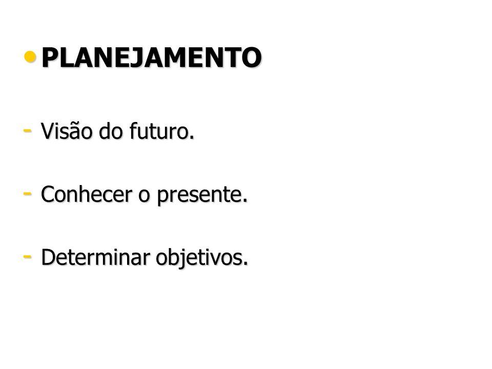 PLANEJAMENTO Visão do futuro. Conhecer o presente.
