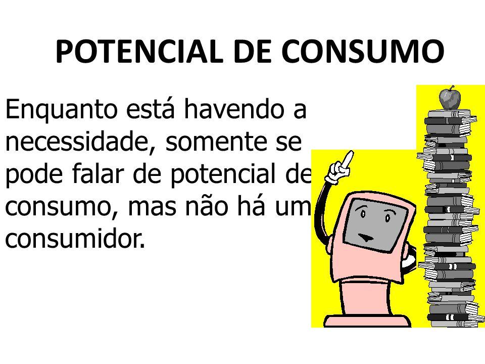 POTENCIAL DE CONSUMO Enquanto está havendo a necessidade, somente se pode falar de potencial de consumo, mas não há um consumidor.