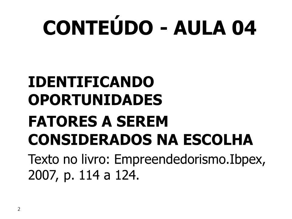 CONTEÚDO - AULA 04 IDENTIFICANDO OPORTUNIDADES