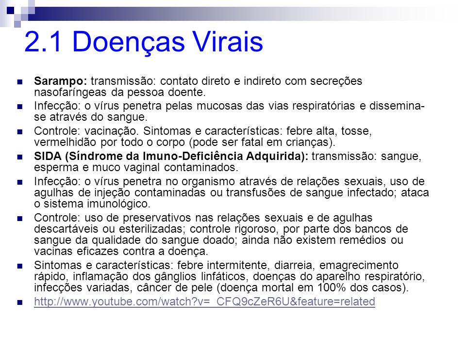 2.1 Doenças Virais Sarampo: transmissão: contato direto e indireto com secreções nasofaríngeas da pessoa doente.