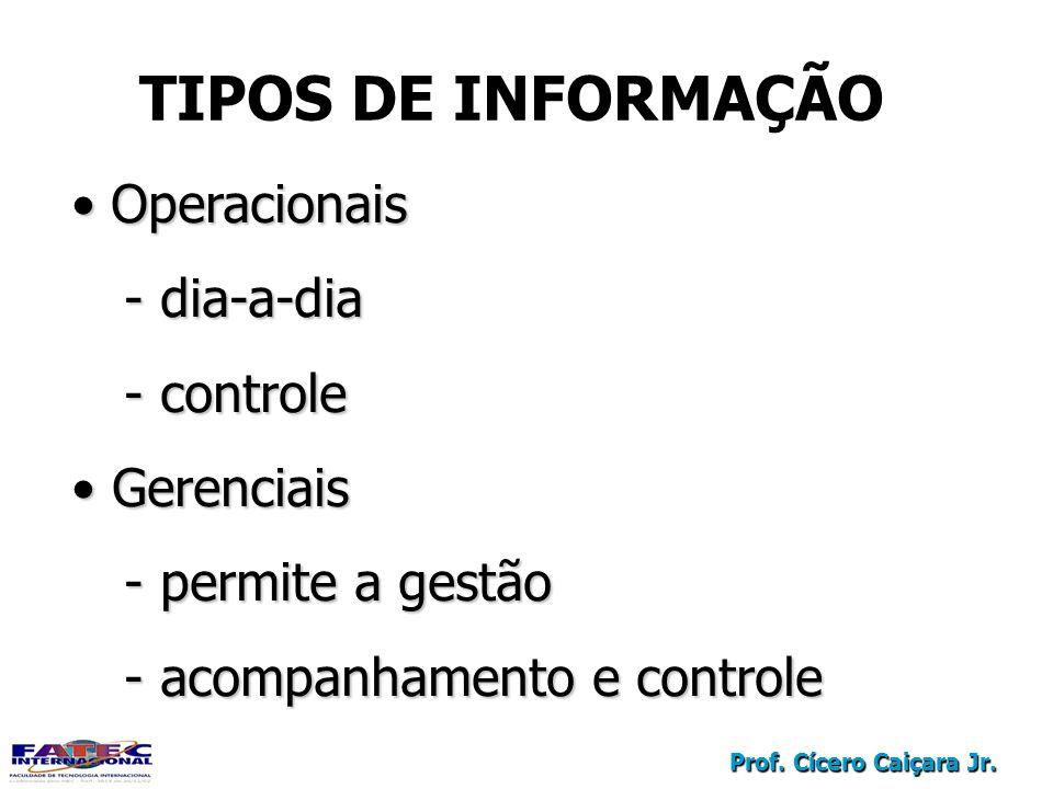 TIPOS DE INFORMAÇÃO Operacionais dia-a-dia controle Gerenciais